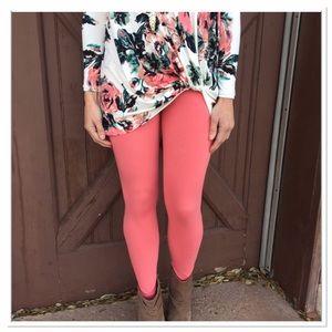 Infinity Raine Pants - LAST PAIR! Coral solid knit leggings OS