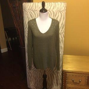 RD Style Studded Shoulder Open Knit V-Neck
