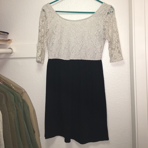 Speekless Dresses White Lace Top Dress With Short Black Bottom
