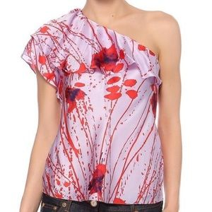 Elie Tahari Tops - Elie Tahari Charlize Floral Silk One Shoulder Top