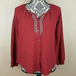 Red Embroidered Top by Faded Glory Size Medium
