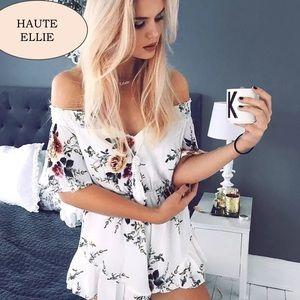 Haute Ellie Pants - Clarissa Floral Tie Front Off Shoulder Romper