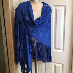 Adore Jackets & Blazers - NWT Adore Blue Perforated Fringe Shawl