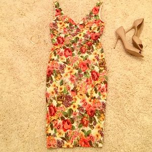 Floral Fitted Midi Dress