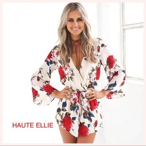Haute Ellie Pants - Cassidy Floral Printed V-Neck Romper