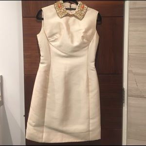 Vintage cream silk dress with beaded collar