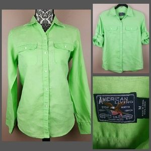 American Living Tops - Green Button Up by American Living Size Medium