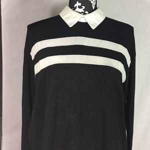 Kaii Tops - Black and White Striped Sheer Bottom Collared Top