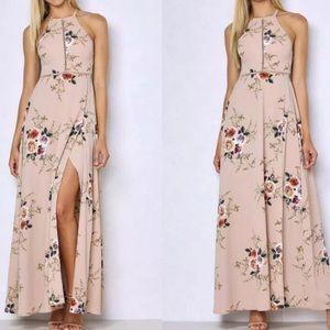 Dresses & Skirts - Beige floral maxi dress