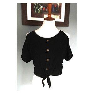 Crop Front Tie Cold Shoulder Shirt