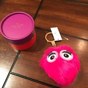 Kate Spade Monster Pouf Pink KeyChain/Purse Charm
