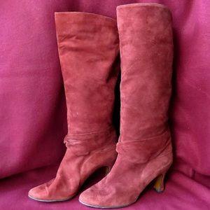 Oxblood Etienne Aigner Kneehigh Leather Boots