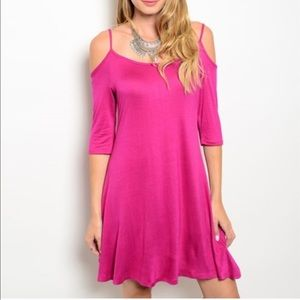 NEW💕 cold shoulder dress hot pink summer