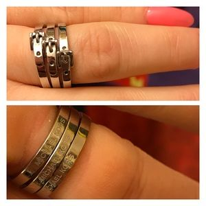 Micheal Kors Buckle Ring Set