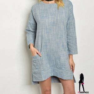 Threadzwear Dresses & Skirts - Powder Blue Whiskered Cotton Mini Dress S M L
