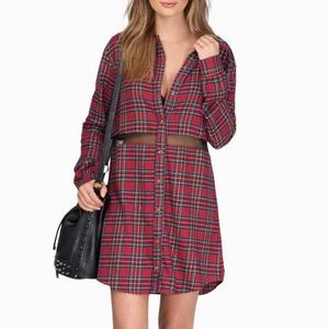 Tobi Dresses & Skirts - TOBI Red Plaid & Mesh Flannel Shift Dress - SIZE M