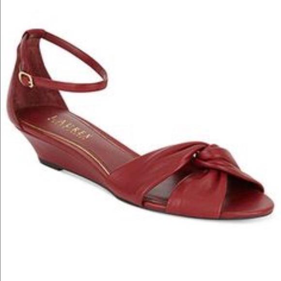 Ralph Lauren Shoes Burgundy Slight Wedge Sandals Poshmark
