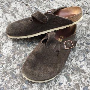 Birkenstock Shoes - Birkenstock Boston Suede Clogs Brown 38