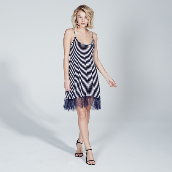 Adam Levine Dresses & Skirts - ADAM LEVINE LACE BOTTOM DRESS - NAVY/WHITE STRIPE