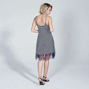 Adam Levine Dresses - ADAM LEVINE LACE BOTTOM DRESS - NAVY/WHITE STRIPE