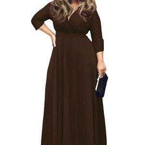 🆕V-Neck 3/4 Sleeve Plus Size Party Maxi Dress