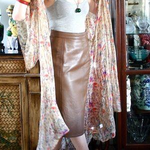 Dresses & Skirts - Firenze Santa Barbara vintage brown leather skirt