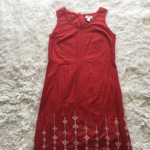 LOFT - Red Shift Dress