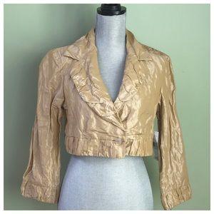 Carmen Marc Valvo Jackets & Blazers - Sand Cropped Jacket