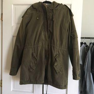 Zara Jackets & Blazers - army green anorak with detachable fur lining