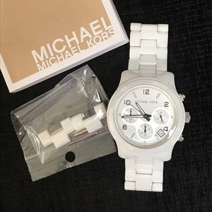 Michael Kors Accessories - Michael Kors White Ceramic Chronograph Watch