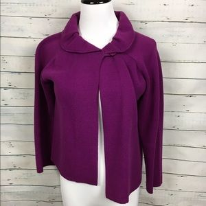 J. Crew Sweaters - J.Crew purple ruffle collar cape Cardigan
