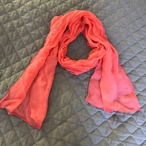 Accessories - Small Coral Silk Chiffon Scarf - NWOT
