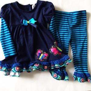 Rare Editions Other - Rare Editions [baby girls] Blue striped ruffle Set
