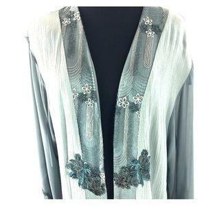 Other - Vintage Artisan Fringed Embellished Kimono