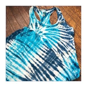 American Twist Dresses & Skirts - ✨Psychedelic Blue Racer-Back Tie-Dye Dress✨