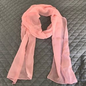 Accessories - Long Light Pink Silk Chiffon Scarf - NWOT
