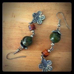 Earrings. Silver, olive green & rust orange beads.