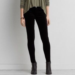 American Eagle Outfitters Pants - AEO Black Velvet Super Stretch Jeggings