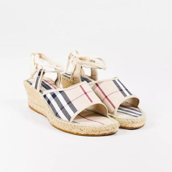 e18cf777b98b1d Burberry Shoes - Burberry Espadrilles Wedge Sandals Sz 38 8 NEW