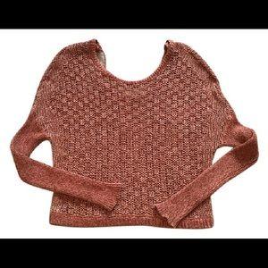 Free People V Back Orange Sweater, Medium