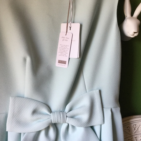 Ted Baker Dresses - Ted Baker Blue Crepe Bow Dress