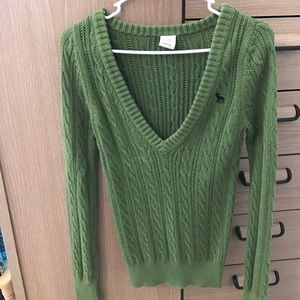 Green Cable Knit sweater from Abercrombie & Fitch