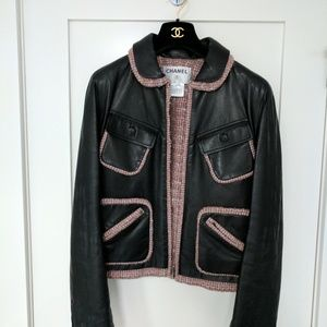 CHANEL Jackets & Blazers - Vintage Chanel leather and tweed bomber jacket
