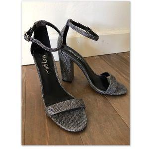 Nasty Gal Pewter Metallic Sparkle Sandal Heels