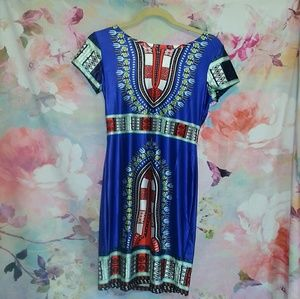 Dresses & Skirts - Bright Colorful Egyptian Print Body Con Dress