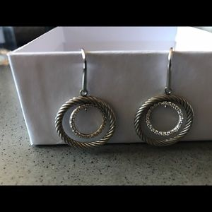 David Yurman Jewelry - David Yurman double hoop drop diamond earrings