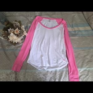 Pink and white tee size L