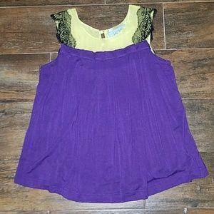 Tops - Purple/black/yellow boutique top