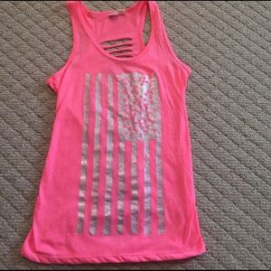 Hot pink tank with silver, shiny American flag