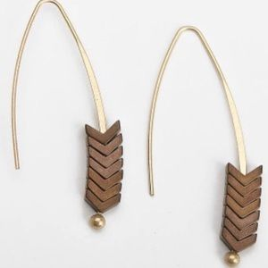 Stone Arrowhead Chevron Threader Drop Earrings